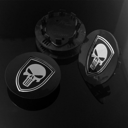 PORSCHE Wheel Center Caps 77mm(60mm) Punisher Skull Black