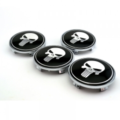 Punisher Skull Wheel Center Caps 68mm(65mm) Black
