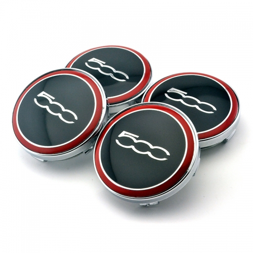 FIAT 500 Wheel Center Caps 60mm(56mm) Red
