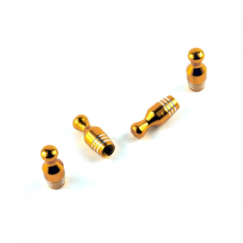 Bowling Tyre Valve Dust Caps Gold