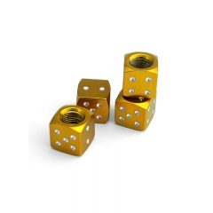 Gold Dice Tyre Valve Dust Caps