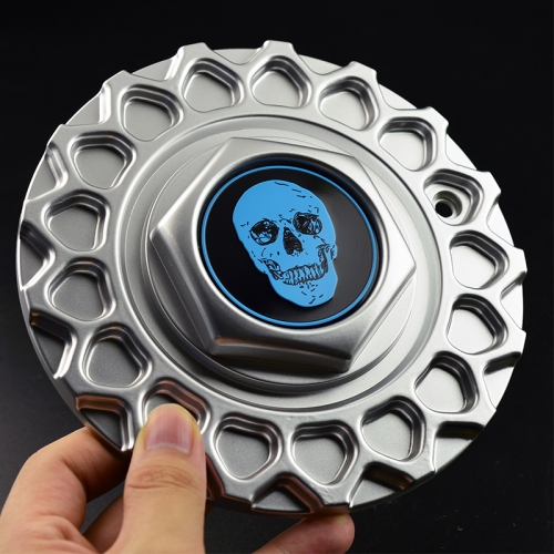 Blue Skull Badge BBS Replica Wheel Center Caps 168mm Grey