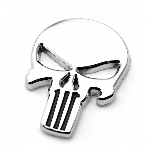 The Punisher silver 3D Skull Skeleton  metal Car Auto Motorcycle body Badge Emblem