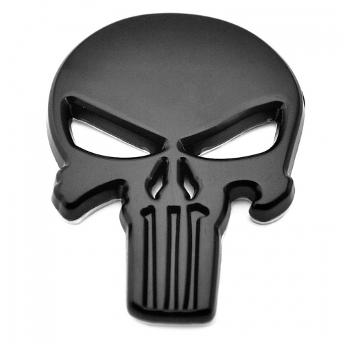The Punisher 3D Skull Skeleton  metal Car Auto Motorcycle body Badge Emblem Black