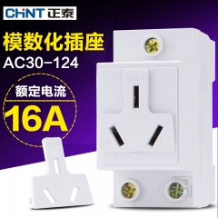 CHINT guide socket modular socket AC30-124 16A AC250V three insert rail installation