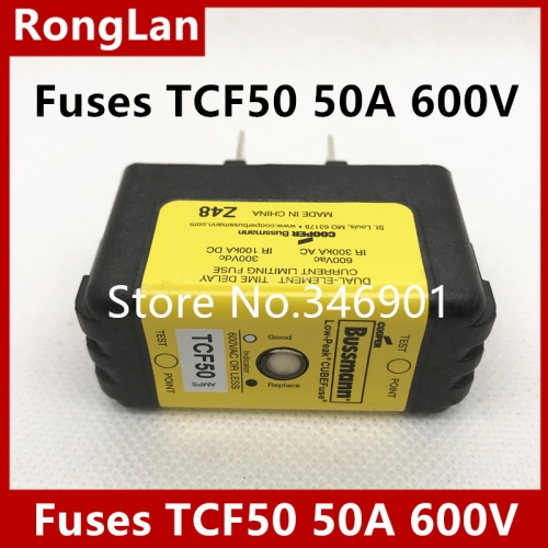Eaton American Bussmann fuses TCF50, 500V 50A, TCFH60N  60A 600V, 300V, slow breaking, time delay fuses