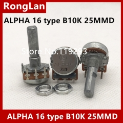 Taiwan ALPHA 16 Potentiometer Single Unit within B10K clubfoot 25MM axis