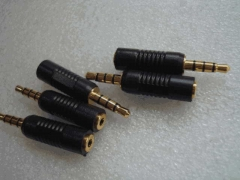 Mobile Phone Earplugs Gold Plated Plug 3.5mm Turn 2.5 Mm Connector 3.5 RPM 2.5 Male to Female Four Audio Transfer