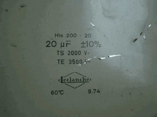 Early Stage France Leclanche 2000 V/3500 V 20 uf s 22UF Oil-Immersed Oil Jar Promise Capacitance