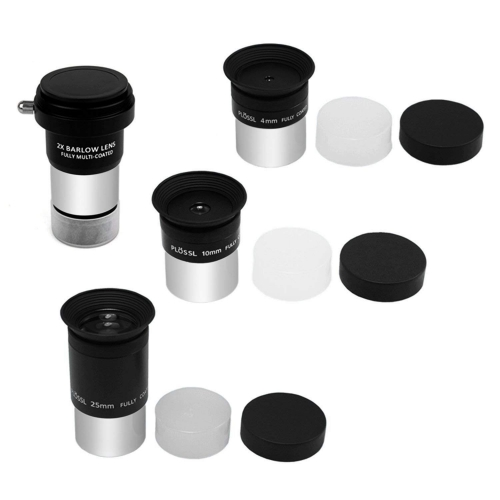 Astromania Multi coated 1.25-Inch Plossl Eyepieces(4mm, 10mm, 25mm) with 2x Barlow Astronomical Telescope Accessory Kit - let you get the most out