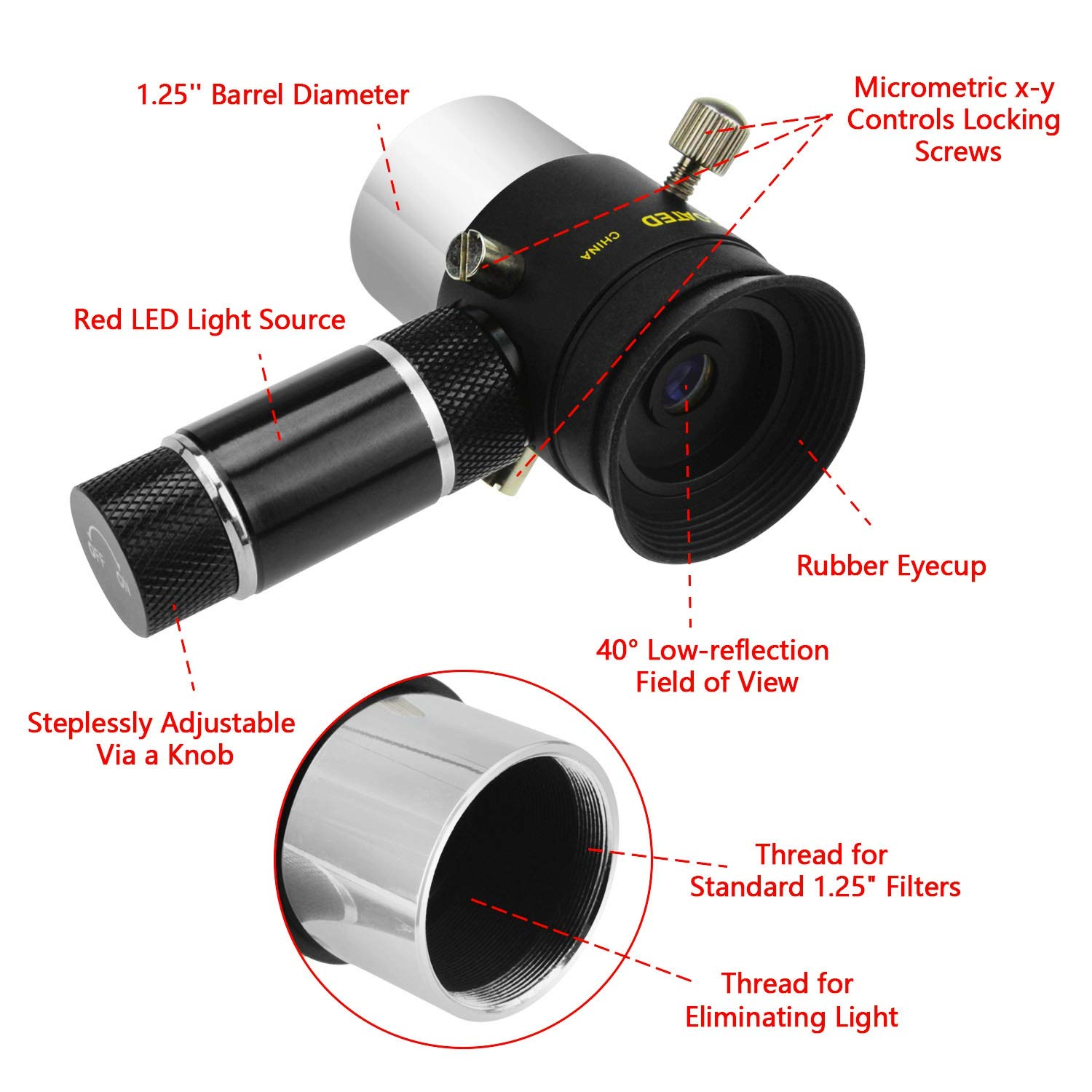 Astromania Deluxe 9mm Illuminated Crosshair Eyepiece for Perfectly Guided astrophotos Micrometric x-y Controls aid in Locking onto The Guide Star