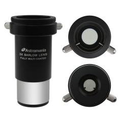 "Astromania 1.25"" 3x Short Focus Barlow Lens for Telescope Eyepiece - Superior sharpness and color correction"