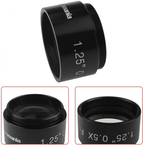 "Astromania 0.5X Reducer for Photography And Observing - 1.25"" Filter Thread (28.5x0.75MM) on Both Sides - Reduces The Focal Length for Visual"