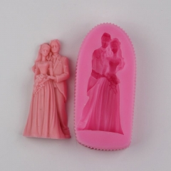 BI005 Bride Groom Wedding Dress Silicone Candle Soap Mold  Moulds Fondant Cake Decoration Tools