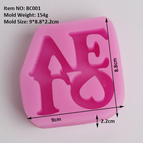 BC001 Love silicone molds wedding decorations fondant molds cake mold kitchen accessories wholesale