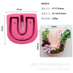 BK2014 faced concrete cement flowerpot silica gel mold I love you series IOU