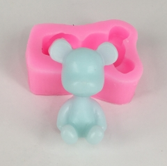 BK1057 bear silicone molds  cute bear decoration car pendant aromatherapy wax mould gyps molds