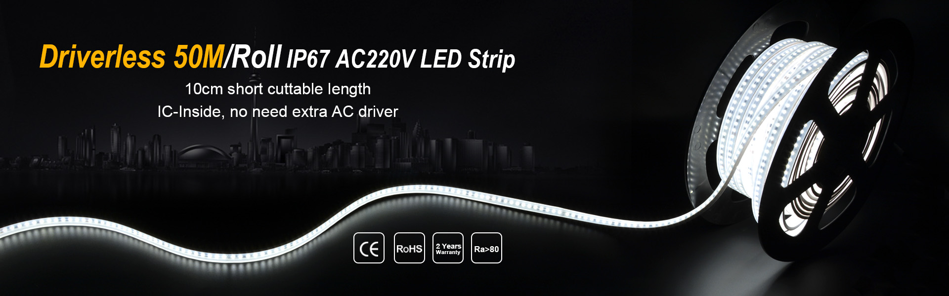 Driverless 50M/Roll IP67 AC220V LED Strip