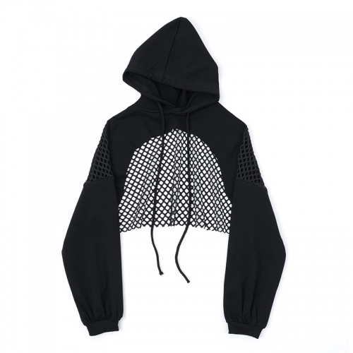 Grid perspective stitching super short hooded sweatshirt
