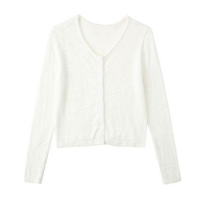 White mink velvet sling knitted cardigan two-piece suit is thin and versatile sweater