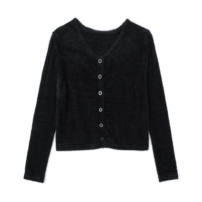 Black mink velvet sling knitted cardigan two-piece suit is thin and versatile sweater