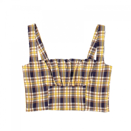 Spring and summer retro contrast check French square collar vest