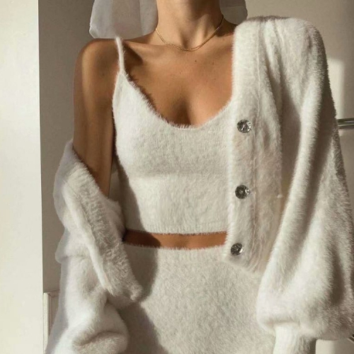 The new forlove sling is sweet and mohair plush short base vest