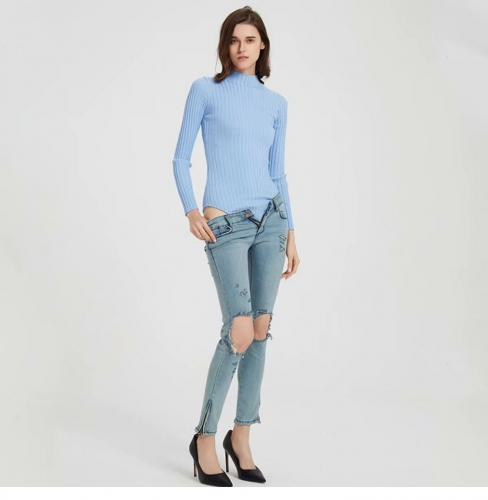 Pit knit sweater tights with concealed buckle bottoming bodysuit