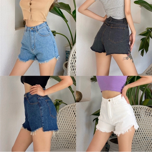Denim shorts with one button hem and raw edges