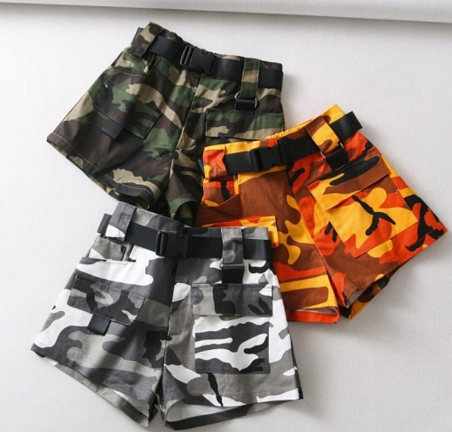 Sexy slim micro stretch camouflage shorts