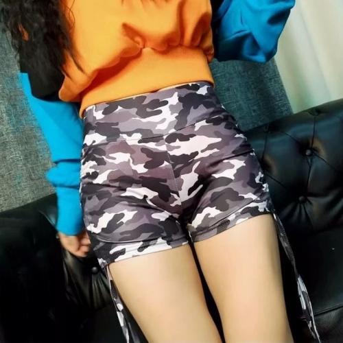 Camouflage side lace-up track shorts
