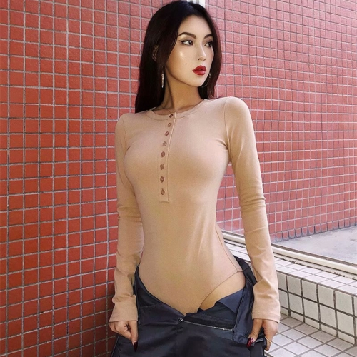 Sexy tight-fitting trendy long-sleeved T-shirt