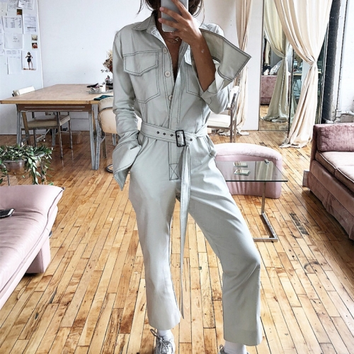 Workwear retro multi-pocket design long-sleeved corset casual loose jumpsuit
