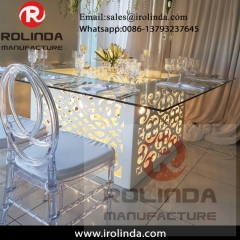 White  base Glass top color change led light dining table