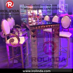 China supplier event stainless steel used high bar table and chairs