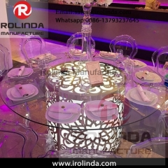 various colours event rental furniture round dinning table set glass