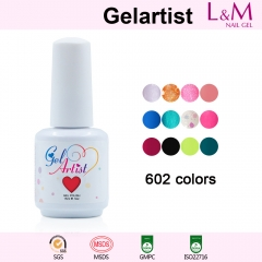 【COLOR COAT 】Gelartist Brand 602COLORS Series Soak-off UV Gel Nail Polish