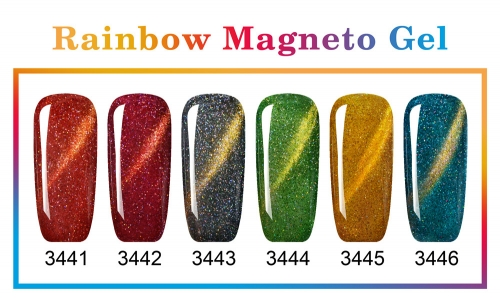 【color chart show only 】New Series Rainbow Magneto Gel