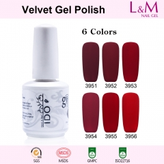 【Velvet Gel Polish】1pc Red Series UV Nail Gel Polish 6 Colors For Choose