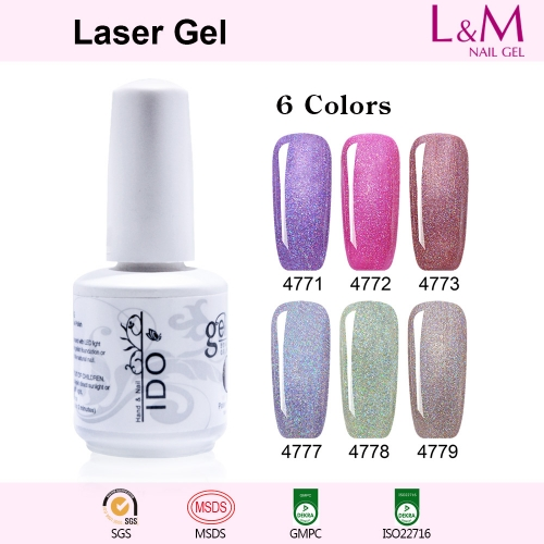 【Laser Gel 】1pc UV Nail Gel Polish Glitter 12 Colors For Choose