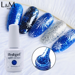 【Diamond Gel Polish 】ibdgel White Bottle 52 Glitter Shinning Gel Nail Polish Soak Off Gel Vanish 15ml