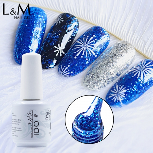 【Diamond Gel Polish 】IDO Gelish Diamond Gloss Gel Polish Shimmer Gel Nail Polish Glitter Soak-off UV Gel with 52 Colors for Choice