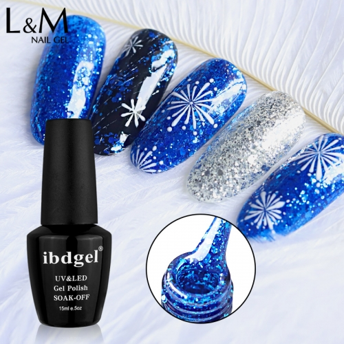 【Diamond Gel 】ibdgel Black Bottle Glitter Gel Polish 15ml Soak Off Nail Gel 52 Diamond Colors for Choose