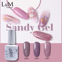 【Sandy Gel】IDO Gelish Sandy Color Gel Polish Nail Manicure  Glitter Gel Colorful Super Shine UV Gel 12
