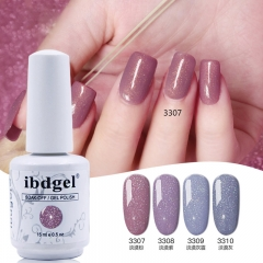 【ibdgel Sandy Color gel Polish 】White Bottle Shiny Glitter Sandy Color Nail Gel Polish for Manicure with 12 Colors for Choice