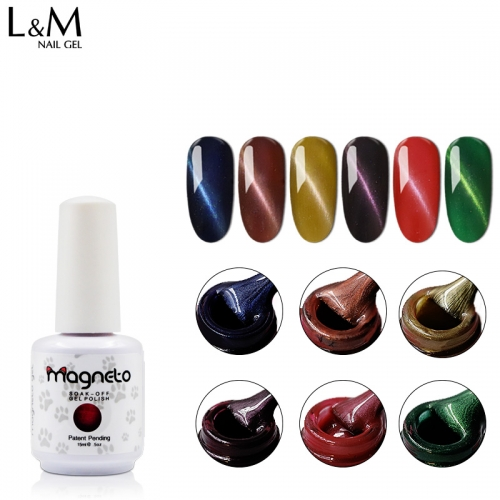 【Magneto Cat Eyes Gel 】3D Cat Eyes Gel Polish UV Led  Magnetic Nail Gel Varnish 15ml