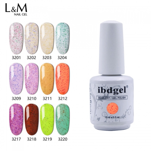【GRANULATED SUGAR SERIES】ibdgel White Bottle Granulated Sugar Gel Polish Sweet Color Nail Gel Lak 24 Colors For Sell
