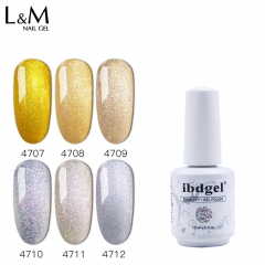 【Brillant Gold and Silver SERIES】idbgel Gelish Brillant Gold and Silver Series Soak-off Gel Nail Polish Glitter Gold Silver Color Gel Polish