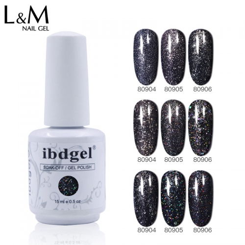 【Black Diamond Gel 】ibdgel Black Diamond Gel Polish Black Glitter Color Nail Gel Varnish Long Lasting Semi-Permanent