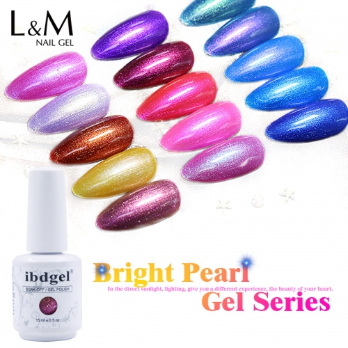【ibdgel Bright Pearl Color Gel】ibdgel Shining Mermaid Shell Nail Gel Polish Semi-permanent 15 Colors Bright Pearl Gel Polish 15ml New